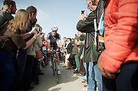 Tom Boonen (BEL/OPQS) finding his way through the crowd and off to the start<br /> <br /> Gent-Wevelgem 2014