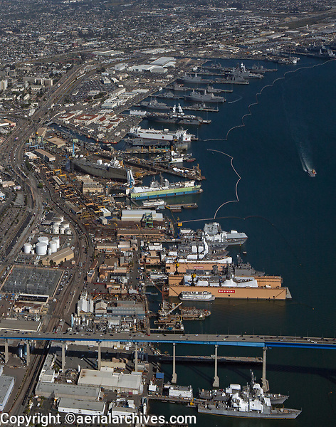aerial photograph of BAE Systems Ship Repair in the foreground and Naval Base San Diego in the background, San Diego County, California