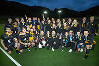 Dalefield men's and womens teams celebrate winning the premier one Wellington Hockey titles at National Hockey Stadium in Wellington, New Zealand on Saturday, 26 September 2020. Photo: Dave Lintott / lintottphoto.co.nz