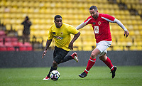 DJ Locksmith (Rudimental) & Allan Smart during the Sellebrity Soccer - Celebrity & legends football match with profits going to Watford Community sports & education trust at Vicarage Road, Watford, England on 12 May 2018. Photo by Andy Rowland.