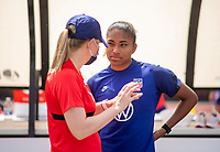 HOUSTON, TX - JUNE 8: Ellie Maybury talks with Catarina Macario #11 of the USWNT before a training session at the University of Houston on June 8, 2021 in Houston, Texas.