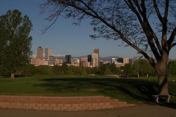 Downtown skyline from City Park, Denver, Colorado, USA.