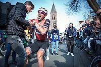John DEGENKOLB (DEU/Trek-Segafredo) 'post race strong effort' cramps<br /> <br /> 82nd Gent – Wevelgem in Flanders Fields 2019 (1.UWT)<br /> Deinze – Wevelgem: 251,5km<br /> ©kramon