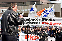 Henri Masse, ex president of the Quebec Federation of Labour (FTQ) speaks to the crowd during a protest for the one-year mark of the lockout at the Quebecor owned Journal de Quebec newspaper in Quebec city April 20, 2007.<br /> <br /> PHOTO :  Francis Vachon - Agence Quebec Presse