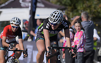 Ally Wollaston wins the Under-19 Women's road race, Carterton-Martinborough-Gladstone circuit. Day three of the 2018 NZ Age Group Road Cycling Championships in Carterton, New Zealand on Sunday, 22 April 2018. Photo: Dave Lintott / lintottphoto.co.nz