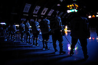 18 October 2009: The University of Vermont Catamounts are introduced prior to a game against the Boston College Eagles at Gutterson Fieldhouse in Burlington, Vermont. The Catamounts defeated the Eagles 4-1 to open Vermont's America East hockey season. Mandatory Credit: Ed Wolfstein Photo