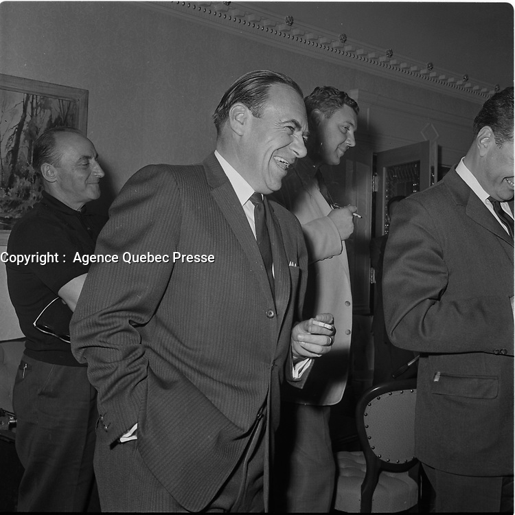 Des deputes de l'Union Nationale Maurice Bellemare, Jean-Jacques Bertrand, Yves Gabias et Daniel Johnson , sr, le 19 aout 1964, dans la ville de Quebec.<br /> <br /> PHOTO : Agence Quebec Presse  - Photo Moderne