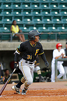 Bristol Pirates outfielder Eddy Vizcaino (31) at bat during a game against the Greeneville Reds at Pioneer Field on June 20, 2018 in Greeneville, Tennessee. Bristol defeated Greeneville 11-0. (Robert Gurganus/Four Seam Images)
