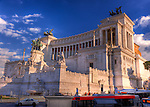 The impressive monument to Emperor Vittorio Emanuele II towers over the central Piazza Venezia in the heart of Rome, Italy.  (HDR image)