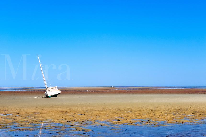 Sailboat on a tidal flat, Brewster, Cape Cod, MA, USA