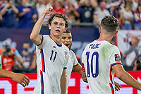 5th September 2021; Nashville, TN, USA;  United States forward Brenden Aaronson (11) celebrates with teammates after scoring a goal during a CONCACAF World Cup qualifying match between the United States and Canada on September 5, 2021 at Nissan Stadium in Nashville, TN.