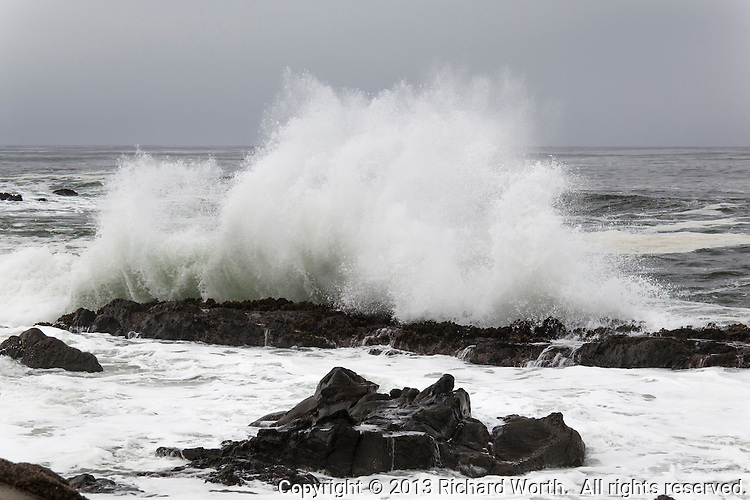 A wave slams into the rocky shore and sends spray sky-high at Bean  Hollow State Beach.