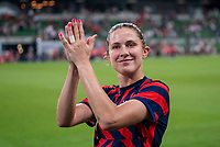 AUSTIN, TX - JUNE 16: Abby Dahlkemper #7 of the USWNT waves to the crowd during a game between Nigeria and USWNT at Q2 Stadium on June 16, 2021 in Austin, Texas.
