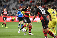 26th May 2021; Bankwest Stadium, Parramatta, New South Wales, Australia; A League Football, Western Sydney Wanderers versus Wellington Phoenix; Keanu Baccus of Western Sydney Wanderers controls the ball as Sam Sutton of Phoenix comes in to challenge