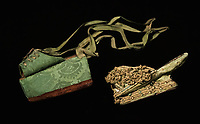 Woman's pair of chopines. Wood covered with velevet and trimmed in gold lace. Venice, Italy, 1600.