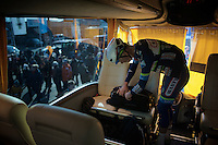 Mark McNally (GBR/Wanty-Groupe Gobert) getting ready for the race on the team bus<br /> <br /> Kuurne-Brussel-Kuurne 2016