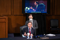 United States Senator Richard Blumenthal (Democrat of Connecticut)speaks during the confirmation of Amy Coney Barrett, U.S. President Donald Trump's nominee for associate justice of the U.S. Supreme Court, during a Senate Judiciary Committee hearing on Capitol Hill in Washington, D.C., U.S., on Thursday, Oct. 15, 2020. <br /> Credit: Sarah Silbiger / Pool via CNP /MediaPunch