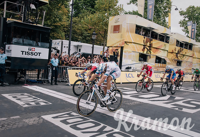 Alexander Kristoff (NOR/UAE) wins the bunch sprint over the famous Champs-Élysées cobbles ahead of John Degenkolb (DEU/Trek-Segafredo) & Arnaud Démare (FRA/Groupama-FDJ)<br /> <br /> Stage 21: Houilles > Paris / Champs-Élysées (115km)<br /> <br /> 105th Tour de France 2018<br /> ©kramon