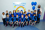 Junior infants in CBS NS, Tralee on Monday with their teacher Dara Quirke