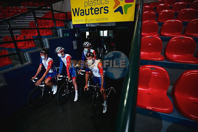 Groupama-FDJ at the team presentation before the 2021 Flèche-Wallonne, running 193.6km from Charleroi to Huy, Belgium. 21st April 2021.  <br /> Picture: A.S.O./Aurélien Vialatte | Cyclefile<br /> <br /> All photos usage must carry mandatory copyright credit (© Cyclefile | A.S.O./Aurélien Vialatte)