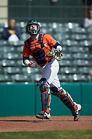 Illinois Fighting Illini catcher JacobCampbell (9) tracks a pop fly during the game against the West Virginia Mountaineers at TicketReturn.com Field at Pelicans Ballpark on February 23, 2020 in Myrtle Beach, South Carolina. The Fighting Illini defeated the Mountaineers 2-1.  (Brian Westerholt/Four Seam Images)