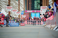 Team SKY off the start podium<br /> Giro d'Italia 2014<br /> stage 1: TTT