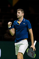 Rotterdam, The Netherlands, Ahoy, Tennis,<br /> ABNAMRO World Tennis Tournament, 13 Februari, 2018,  Filip Krajinovic (SER) wins and jubilates<br /> Photo: www.tennisimages.com