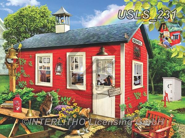 Lori, LANDSCAPES, LANDSCHAFTEN, PAISAJES, paintings+++++Little Red Schoolhouse_15_10.5_72,USLS231,#l#, EVERYDAY ,puzzle,puzzles