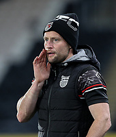 Grimsby Town's first team coach Ben Davies shouts instructions to his team from the technical area<br /> <br /> Photographer Alex Dodd/CameraSport<br /> <br /> EFL Papa John's Trophy - Northern Section - Group H - Hull City v Grimsby Town - Tuesday 17th November 2020 - KCOM Stadium - Kingston upon Hull<br />  <br /> World Copyright © 2020 CameraSport. All rights reserved. 43 Linden Ave. Countesthorpe. Leicester. England. LE8 5PG - Tel: +44 (0) 116 277 4147 - admin@camerasport.com - www.camerasport.com