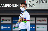 Picture by Alex Whitehead/SWpix.com - 25/09/2020 - Cycling - UCI 2020 Road World Championships IMOLA - EMILIA-ROMAGNA ITALY - Individual Time Trial Men Elite - Filippo Ganna of Italy on the podium after winning the Men's Elite Individual Time Trial. - MAPEI - SANTINI