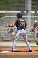 Miami Marlins first baseman Branden Berry (38) at bat during a minor league Spring Training game against the New York Mets on March 26, 2017 at the Roger Dean Stadium Complex in Jupiter, Florida.  (Mike Janes/Four Seam Images)