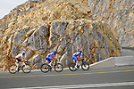 Alexys Brunel and Anthony Roux (FRA) Groupama-FDJ with Jaakko Hänninen (FIN) AG2R Citroën Team climb the final 4km of Jais Mountain during Stage 5 of the 2021 UAE Tour running 170km from Fujairah to Jebel Jais, Ras Al Khaimah, UAE. 25th February 2021.  <br /> Picture: Eoin Clarke   Cyclefile<br /> <br /> All photos usage must carry mandatory copyright credit (© Cyclefile   Eoin Clarke)