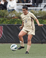Boston College midfielder Maddie Payne (6) traps the ball. Pepperdine University defeated Boston College,1-0, at Soldiers Field Soccer Stadium, on September 29, 2012.