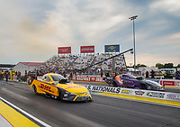 Sep 6, 2020; Clermont, Indiana, United States; NHRA funny car driver J.R. Todd (near) races alongside Jack Beckman in the final round of the US Nationals at Lucas Oil Raceway. Mandatory Credit: Mark J. Rebilas-USA TODAY Sports