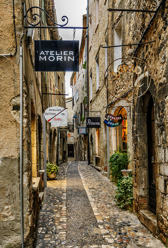 A view of the Rue Grande in Saint-Paul-de-Vence, with a plethora of artists' studios, early on a Sunday morning.