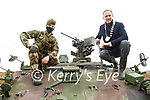 Cpl Luke Switzer from Killarney with Cllr Patrick Connor-Scarteen (Cathaoirleach of Kerry County Council) on top of the CRV at the Irish Defence Forces manoeuvres in Tralee