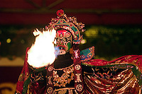 Fire breathing mask puppet in a tourist show - Chengdu, China in Sichuan Province