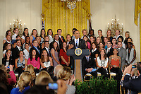 President Barack Obama honors reigning Women's Professional Soccer (WPS) champions Sky Blue FC in the East Room of the White House in Washington, D. C., on July 01, 2010.
