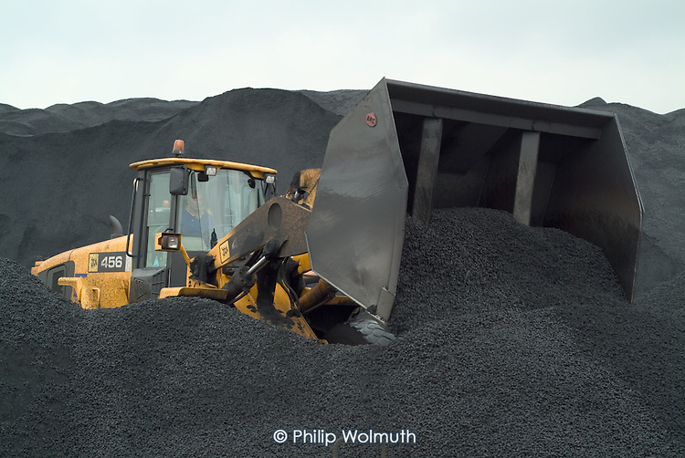 Moving unloaded South African coal at Immingham Docks, on the Humber estuary.