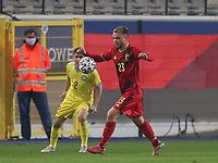 Nicolas Raskin (23) of Belgium  in action during a soccer game between the national teams Under21 Youth teams of Belgium and Kazakhstan on the third matday in group I for the qualification for the Under 21 EURO 2023 , on friday 8 th of october 2021  in Leuven , Belgium . PHOTO SPORTPIX | SEVIL OKTEM