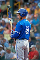 Toronto Blue Jays catcher A.J. Jimenez (8) at bat during a Spring Training game against the Pittsburgh Pirates on March 3, 2016 at McKechnie Field in Bradenton, Florida.  Toronto defeated Pittsburgh 10-8.  (Mike Janes/Four Seam Images)