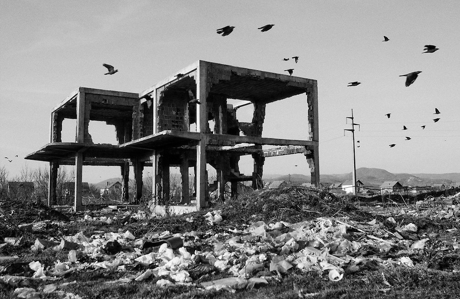 Blackbirds fly over destroyed Serbian house in Kosovo.