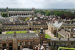 """Cambridge University UK Skyline. St Johns College foreground.  Trinity, ( with lawn centre)  Gonville and Caius College commonly refered to as Caius - pronounced as """"keys"""". Kings College. ( large building top left.)"""