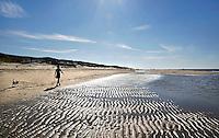 Nederland Texel 2015. Vrouw met hond op het strand in De Koog