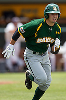 Baylor Bears designated hitter Nathan Orf #4 runs to first base during the NCAA Regional baseball game against Oral Roberts University on June 3, 2012 at Baylor Ball Park in Waco, Texas. Baylor defeated Oral Roberts 5-2. (Andrew Woolley/Four Seam Images).