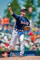 18 July 2018: New Hampshire Fisher Cats pitcher Josh DeGraaf attempts a pick-off at first during a game against the Trenton Thunder at Northeast Delta Dental Stadium in Manchester, NH. The Thunder defeated the Fisher Cats 3-2 concluding a previous game started April 29. Mandatory Credit: Ed Wolfstein Photo *** RAW (NEF) Image File Available ***