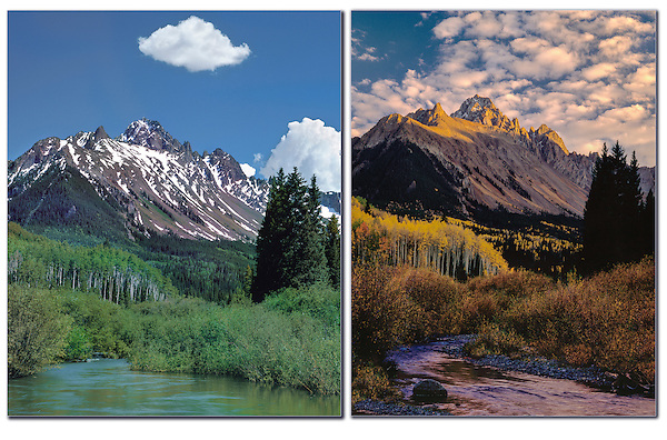 Location scout to find great spots. Then return in different seasons and conditions.<br /> Mt Sneffels and stream in summer and fall, Ridgeway, Colorado.