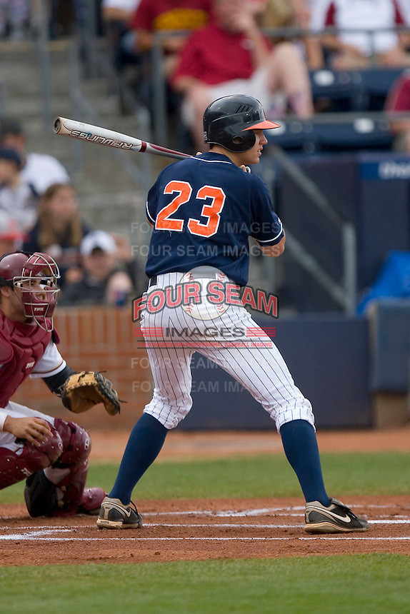 Danny Hultzen #23 of the Virginia Cavaliers at bat versus the Florida State Seminoles at Durham Bulls Athletic Park May 24, 2009 in Durham, North Carolina. The Virginia Cavaliers defeated the Florida State Seminoles 6-3 to win the 2009 ACC Baseball Championship.  (Photo by Brian Westerholt / Four Seam Images)