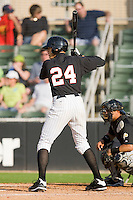 Trayce Thompson #24 of the Kannapolis Intimidators at bat against the West Virginia Power at Fieldcrest Cannon Stadium April 25, 2010, in Kannapolis, North Carolina.  Photo by Brian Westerholt / Four Seam Images