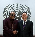 Secretary-General Ban Ki Moon, meeting with Mr. Steve Wonder